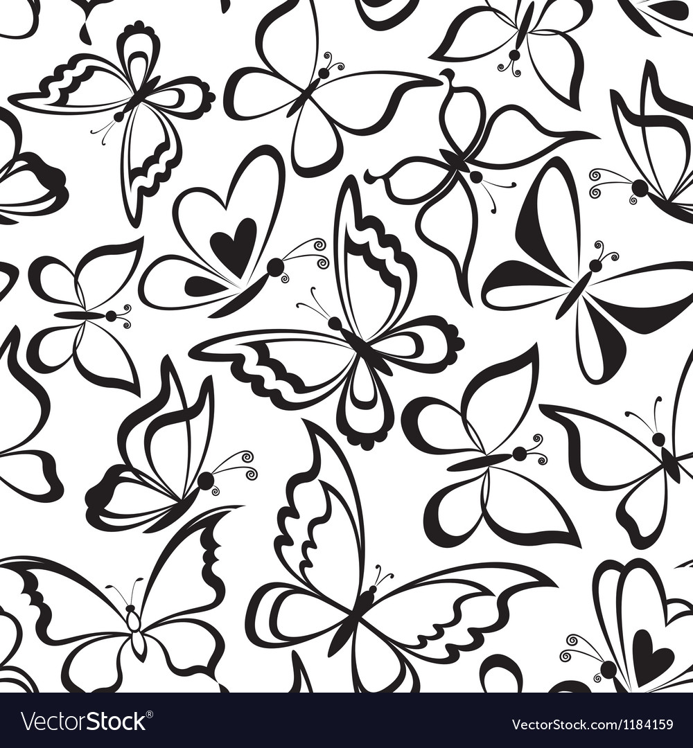 Seamless background butterflies silhouettes vector | Price: 1 Credit (USD $1)