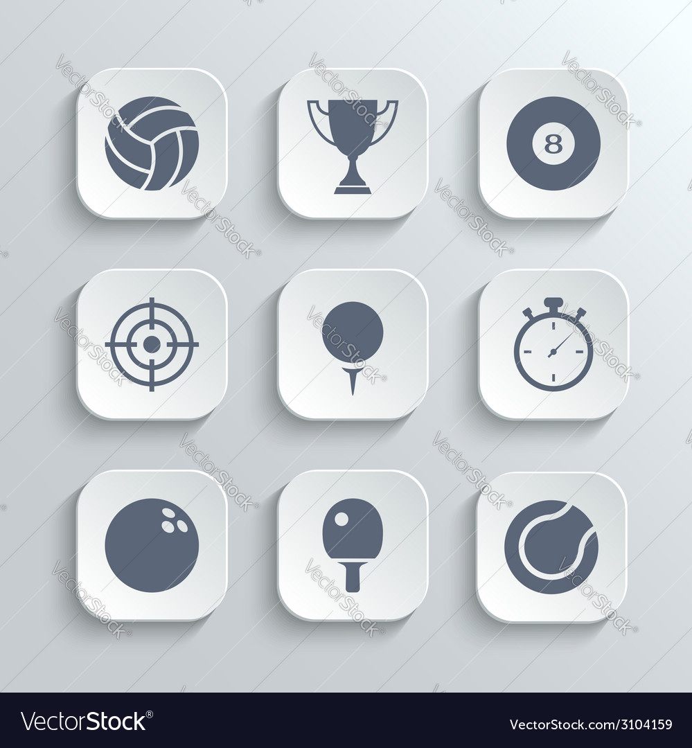 Sport icons set - white app buttons vector | Price: 1 Credit (USD $1)