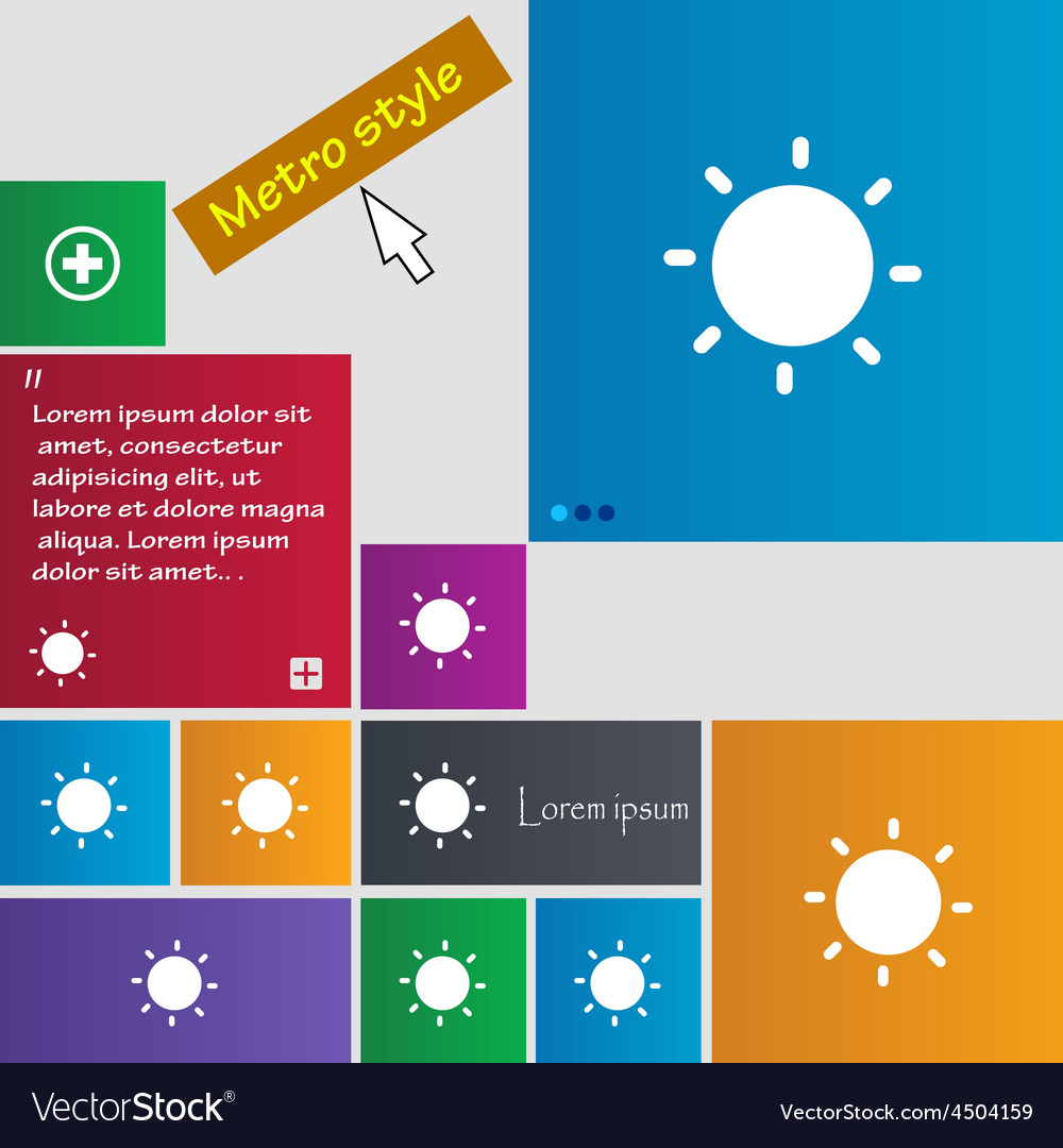Sun icon sign metro style buttons modern interface vector   Price: 1 Credit (USD $1)