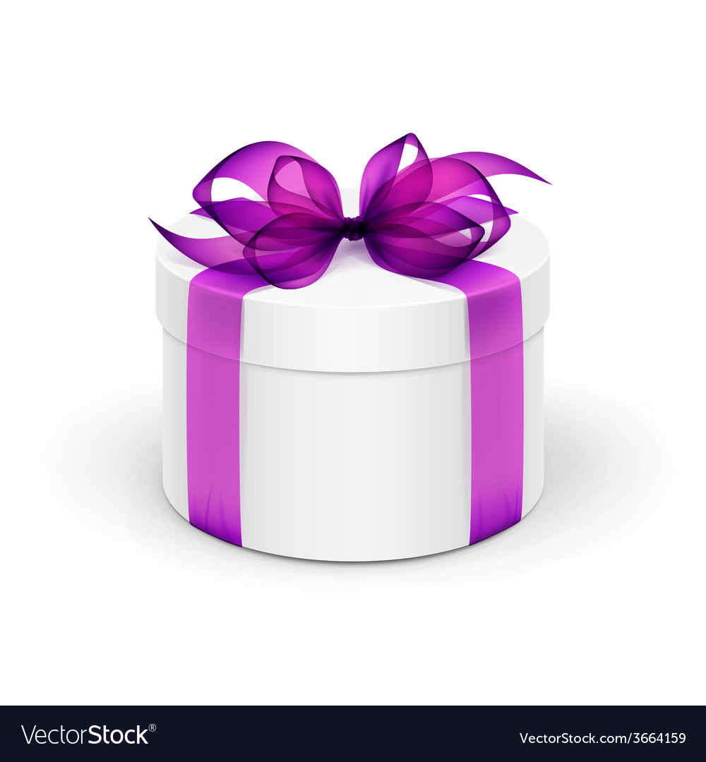 White round gift box with violet purple ribbon and vector | Price: 1 Credit (USD $1)