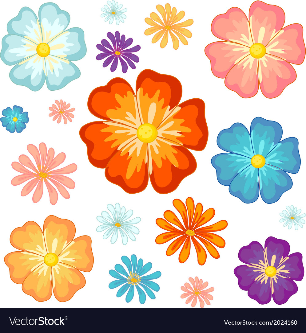 Big and small flowers vector | Price: 1 Credit (USD $1)