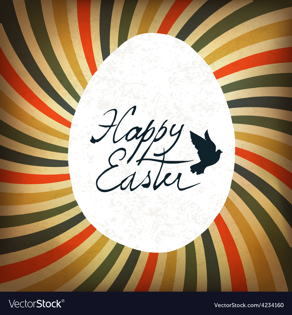 Easter card rays retro calligraphy vector | Price: 1 Credit (USD $1)