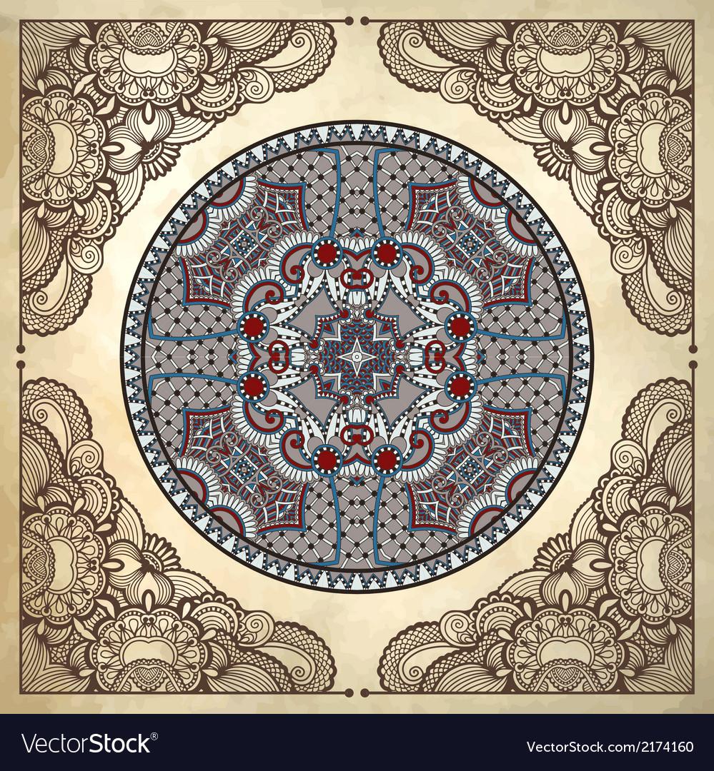 Flower circle design on grunge background vector | Price: 1 Credit (USD $1)