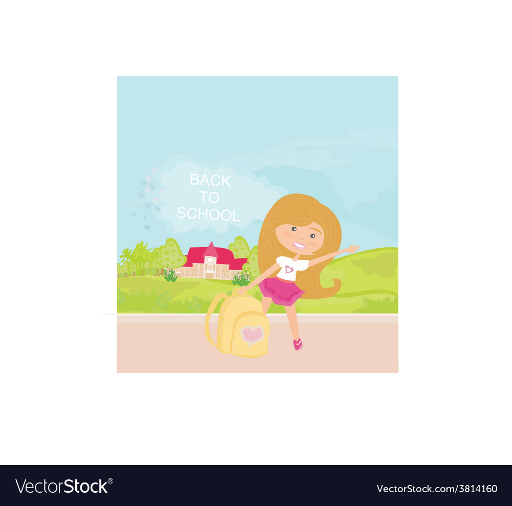 Girl going to school vector | Price: 1 Credit (USD $1)