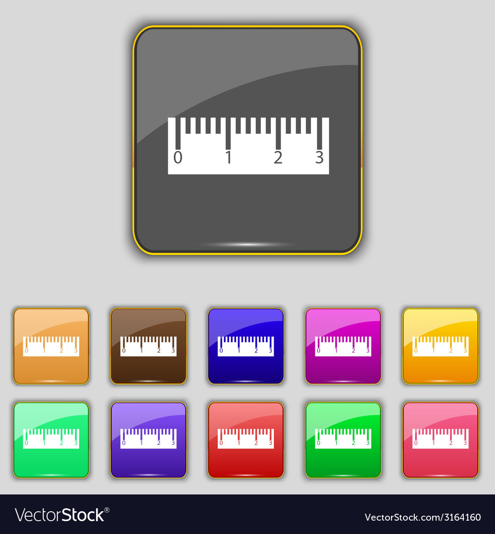 Ruler sign icon school tool symbol set of colored vector | Price: 1 Credit (USD $1)