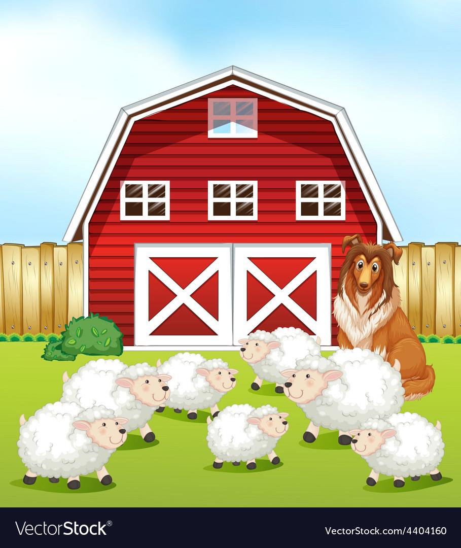 Sheep and barn vector | Price: 3 Credit (USD $3)