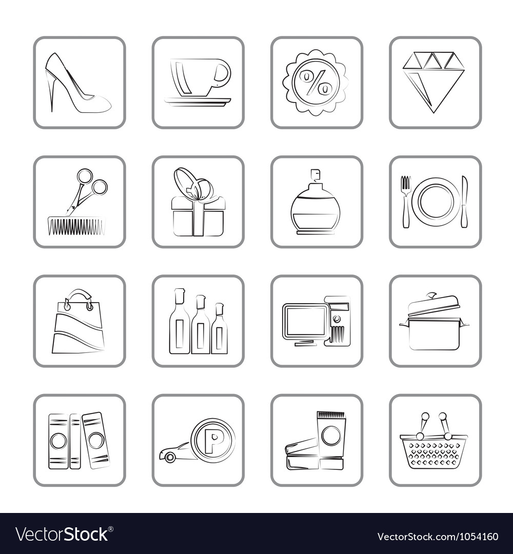 Shopping and mall icons vector | Price: 1 Credit (USD $1)