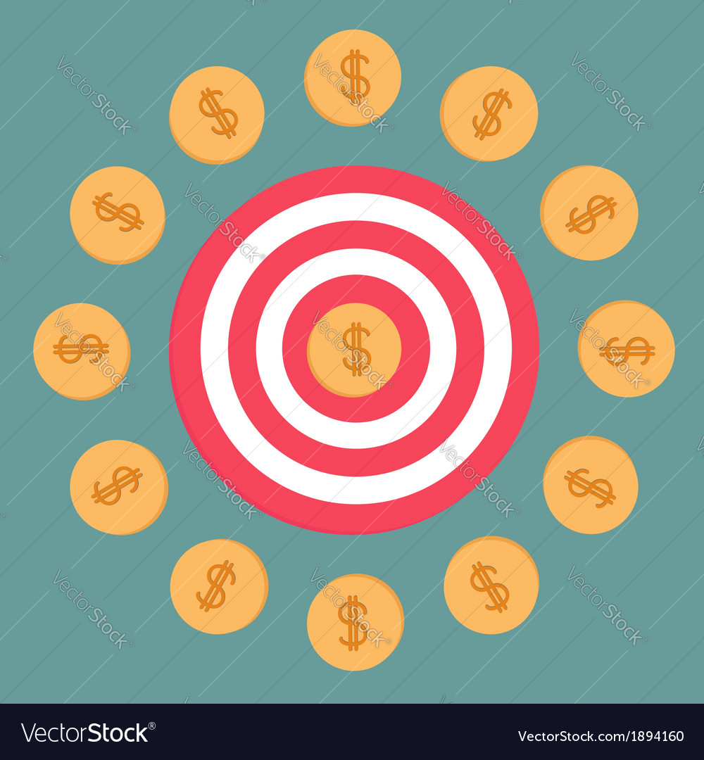 Target and dollar coins flat design vector | Price: 1 Credit (USD $1)