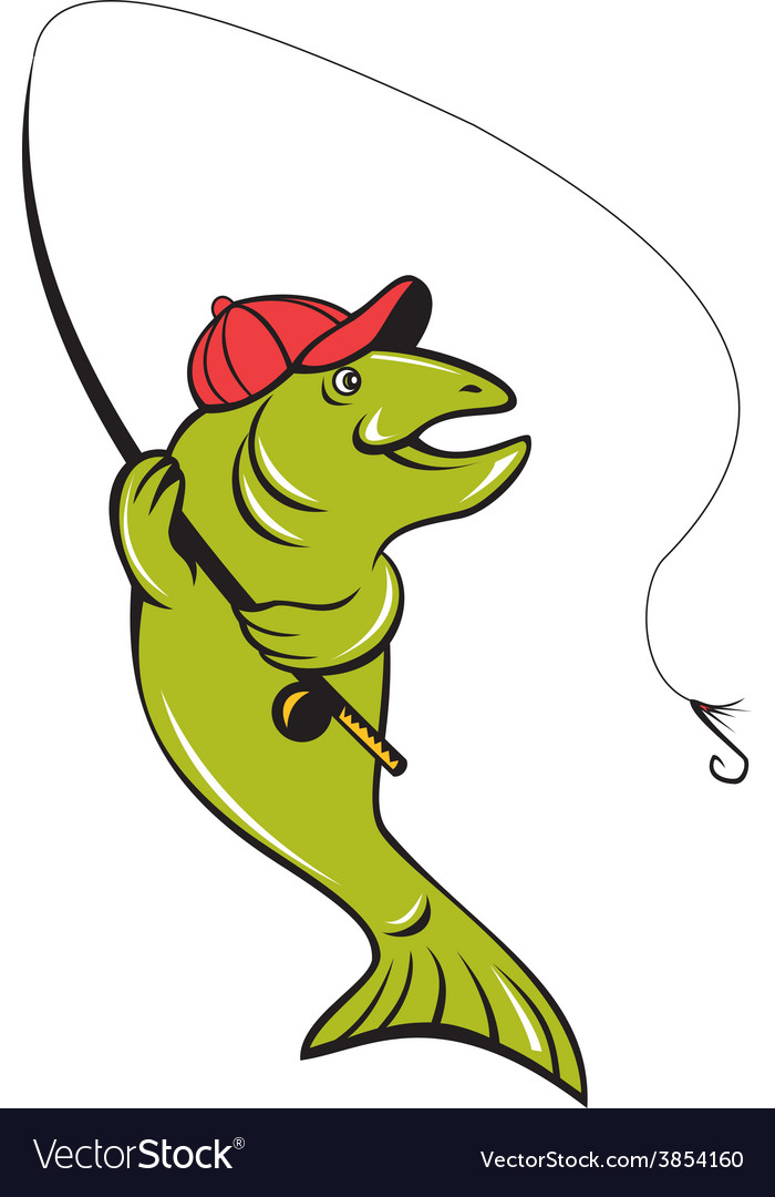Trout fly fishing rod hook cartoon vector | Price: 1 Credit (USD $1)