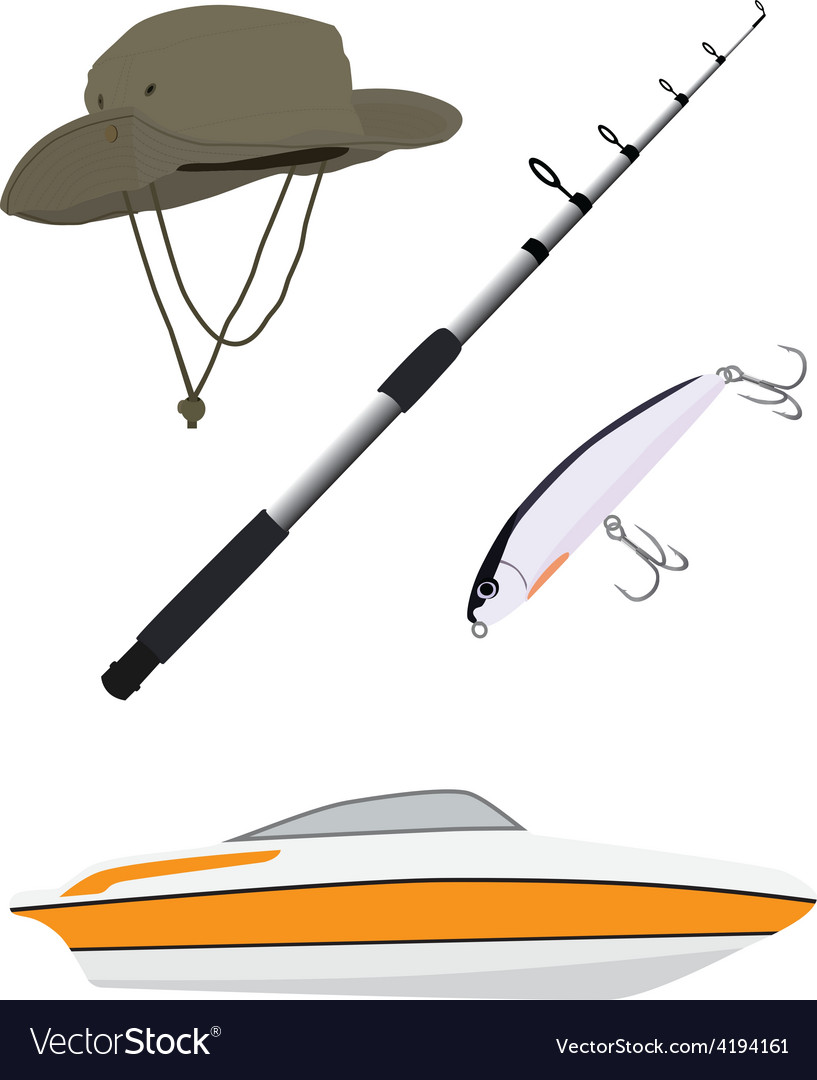 Fishing hatpole rod and boat vector | Price: 1 Credit (USD $1)