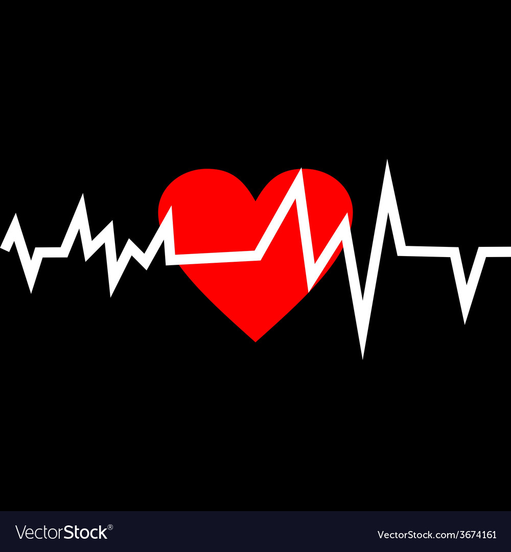 Heart with life line in minimalistic style vector | Price: 1 Credit (USD $1)