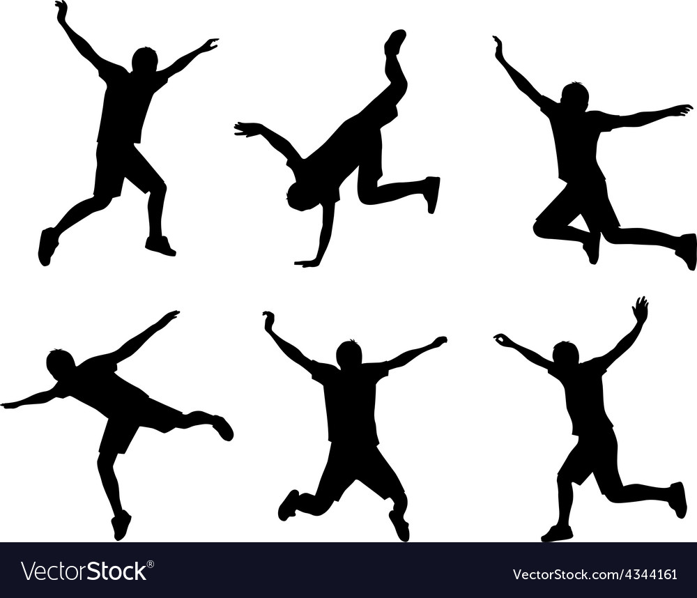 Jumping people silhouette vector | Price: 1 Credit (USD $1)
