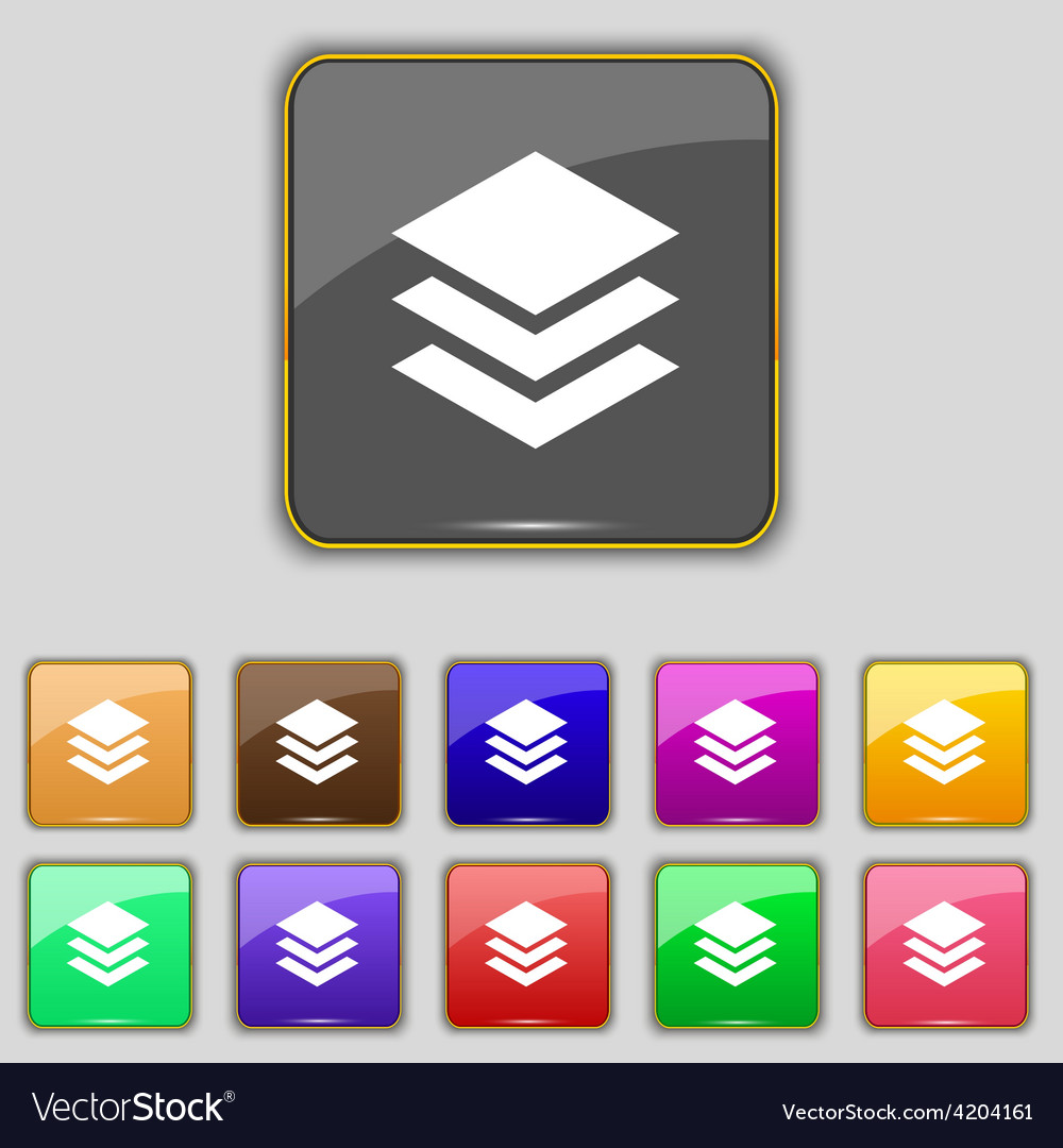 Layers icon sign set with eleven colored buttons vector | Price: 1 Credit (USD $1)