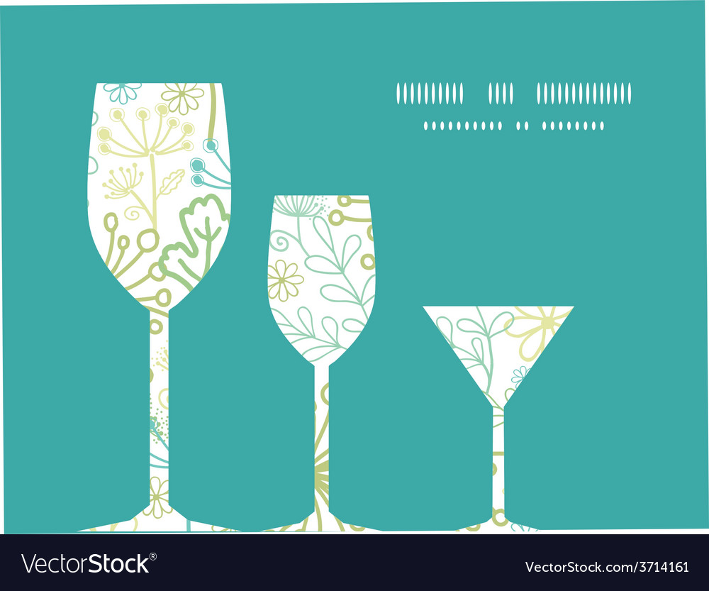 Mysterious green garden three wine glasses vector   Price: 1 Credit (USD $1)