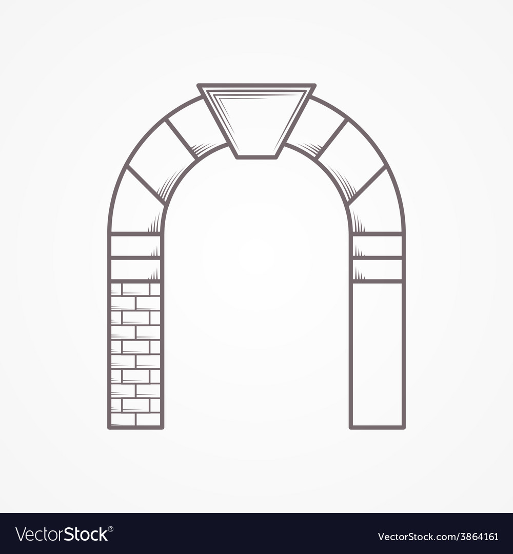 Round arch flat line icon vector