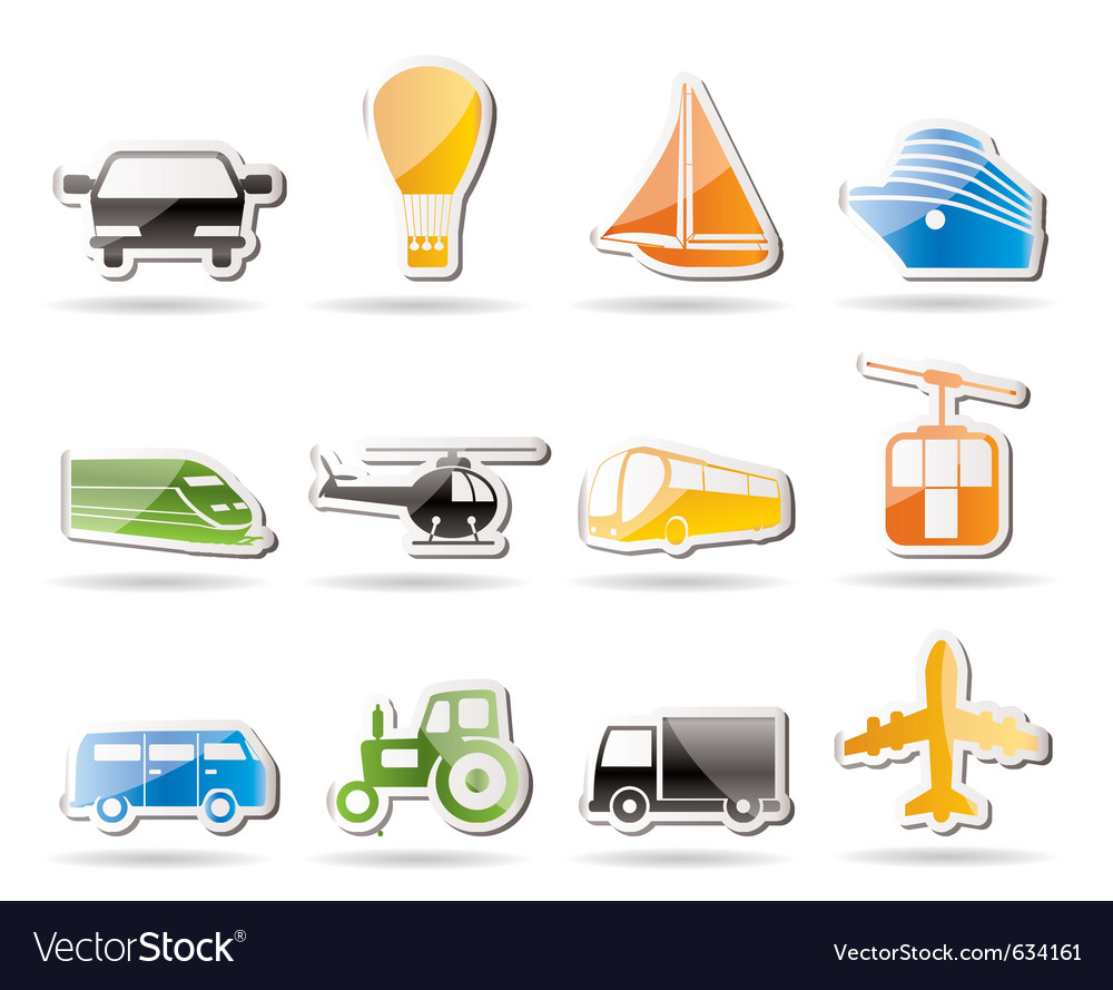 Simple transportation and travel icons vector | Price: 1 Credit (USD $1)