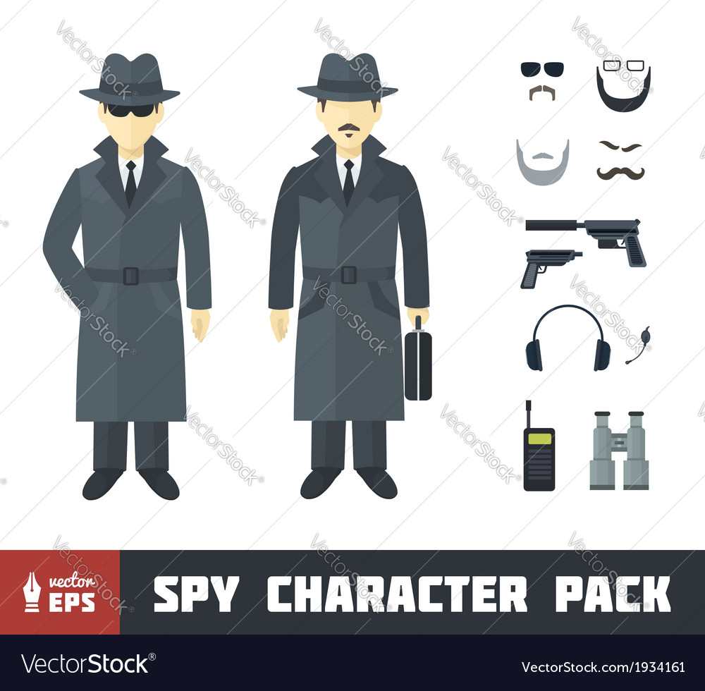Spy character pack vector | Price: 1 Credit (USD $1)