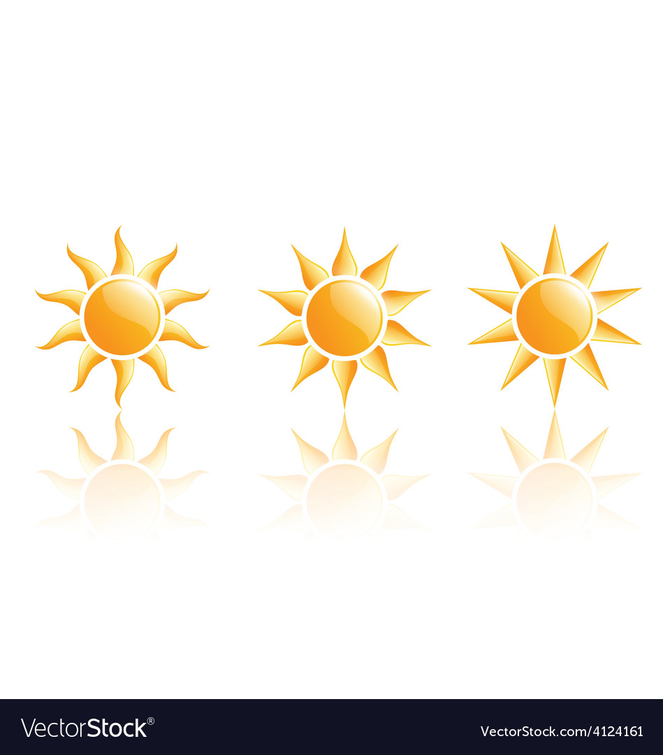 Three suns icons with reflection on white vector | Price: 1 Credit (USD $1)