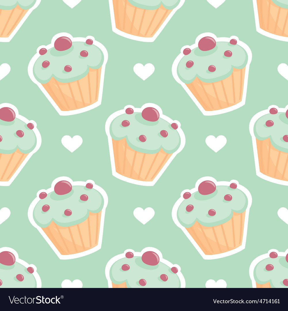 Tile pattern with cupcake and hearts on mint green vector | Price: 1 Credit (USD $1)