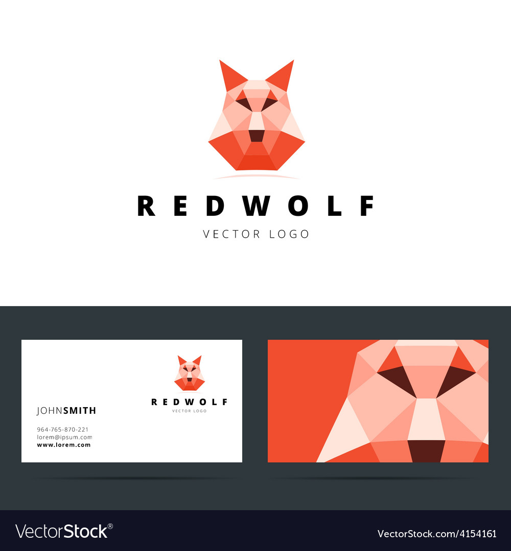 Triangle polygonal logo with wolf sign and vector | Price: 1 Credit (USD $1)
