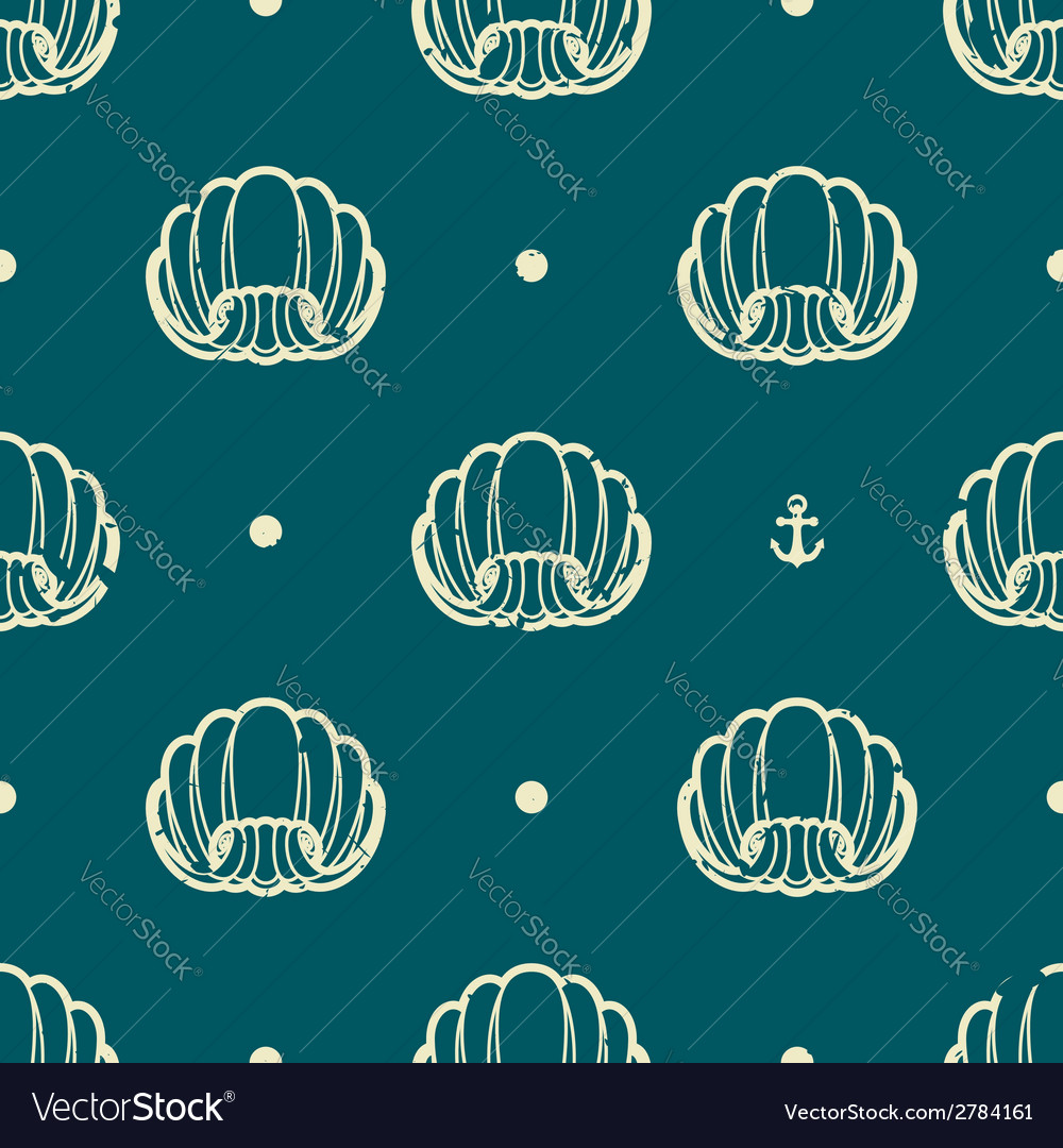 Vintage seashell pattern vector | Price: 1 Credit (USD $1)