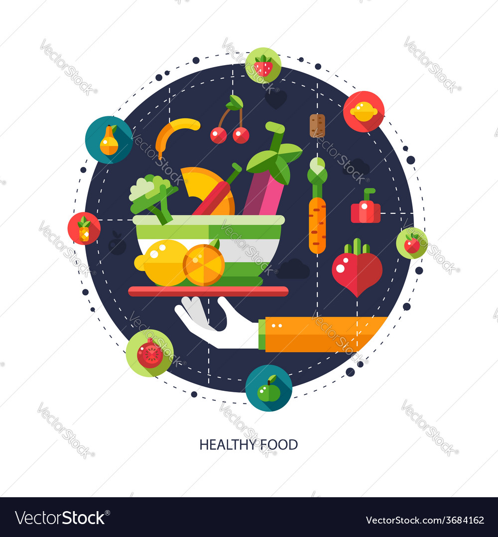 Flat design fruits and vegetables icons composit vector | Price: 1 Credit (USD $1)