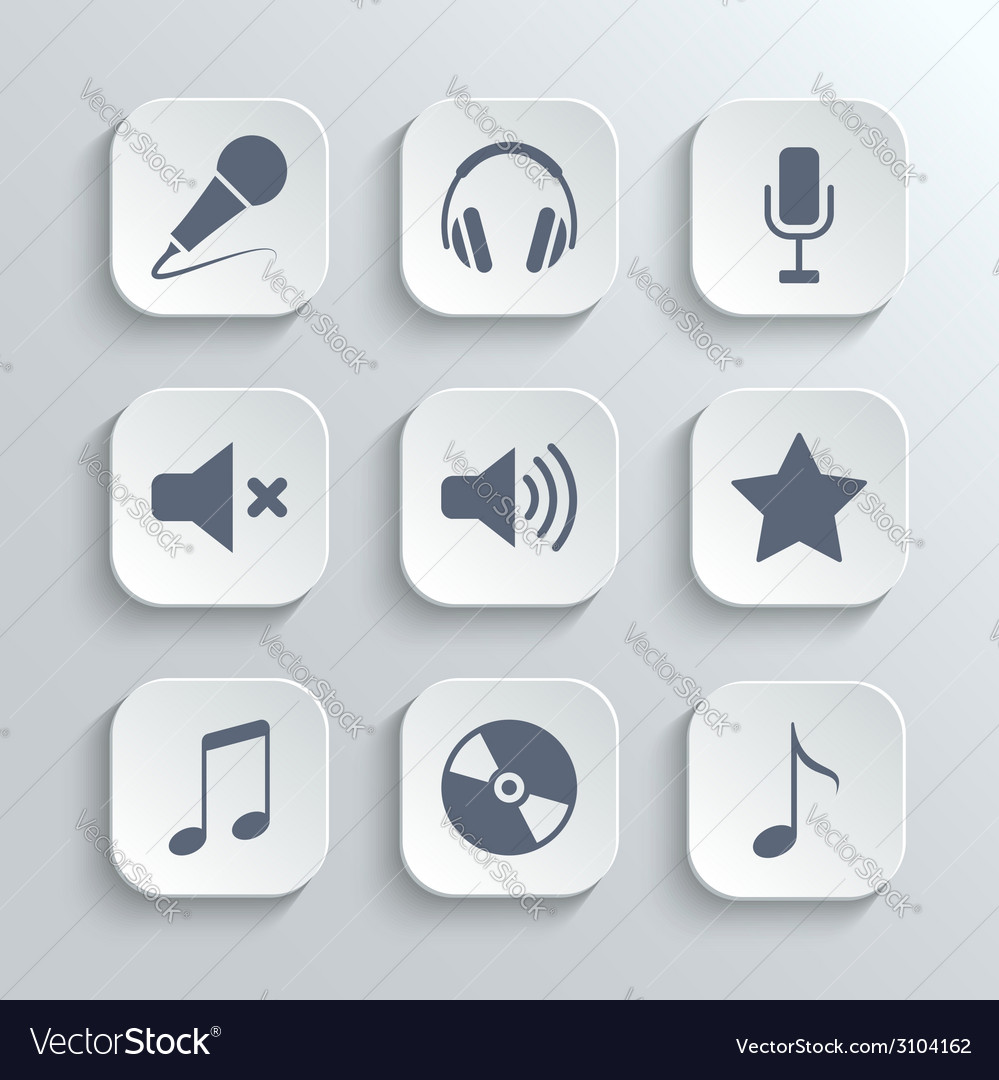 Media icons set - white app buttons vector | Price: 1 Credit (USD $1)