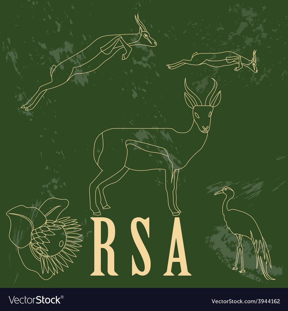 Rsa landmarks retro styled image vector | Price: 1 Credit (USD $1)