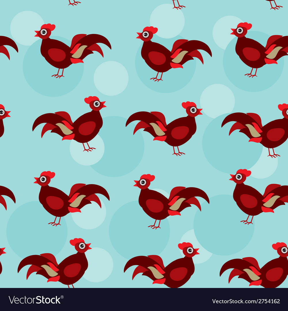 Seamless pattern with funny cute rooster bird on a vector | Price: 1 Credit (USD $1)