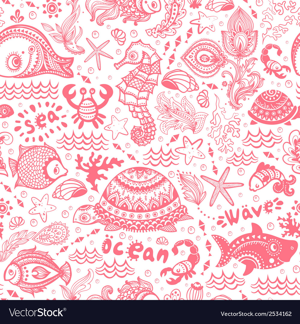 Set of fish and shells vector | Price: 1 Credit (USD $1)