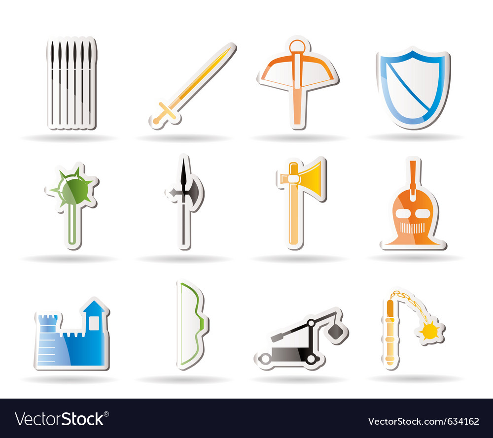 Simple medieval arms and objects icons vector | Price: 1 Credit (USD $1)