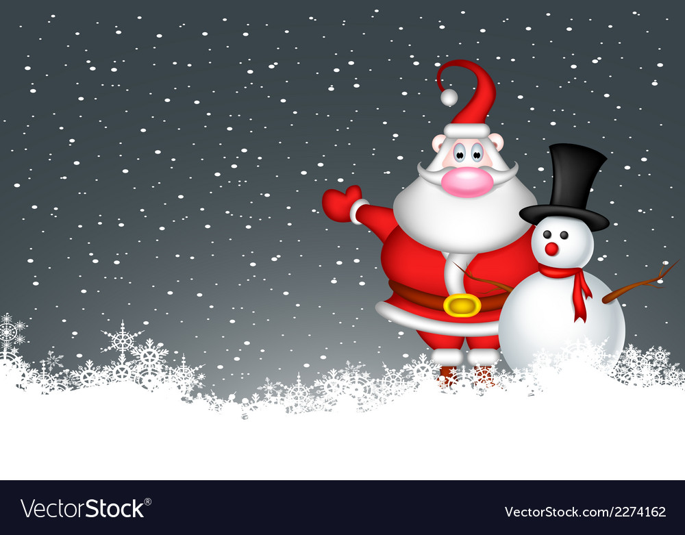 Snowman and santa claus vector | Price: 1 Credit (USD $1)
