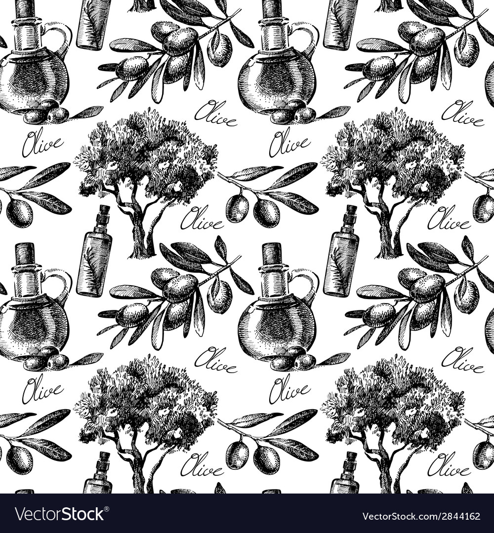 Vintage olive seamless pattern vector | Price: 1 Credit (USD $1)