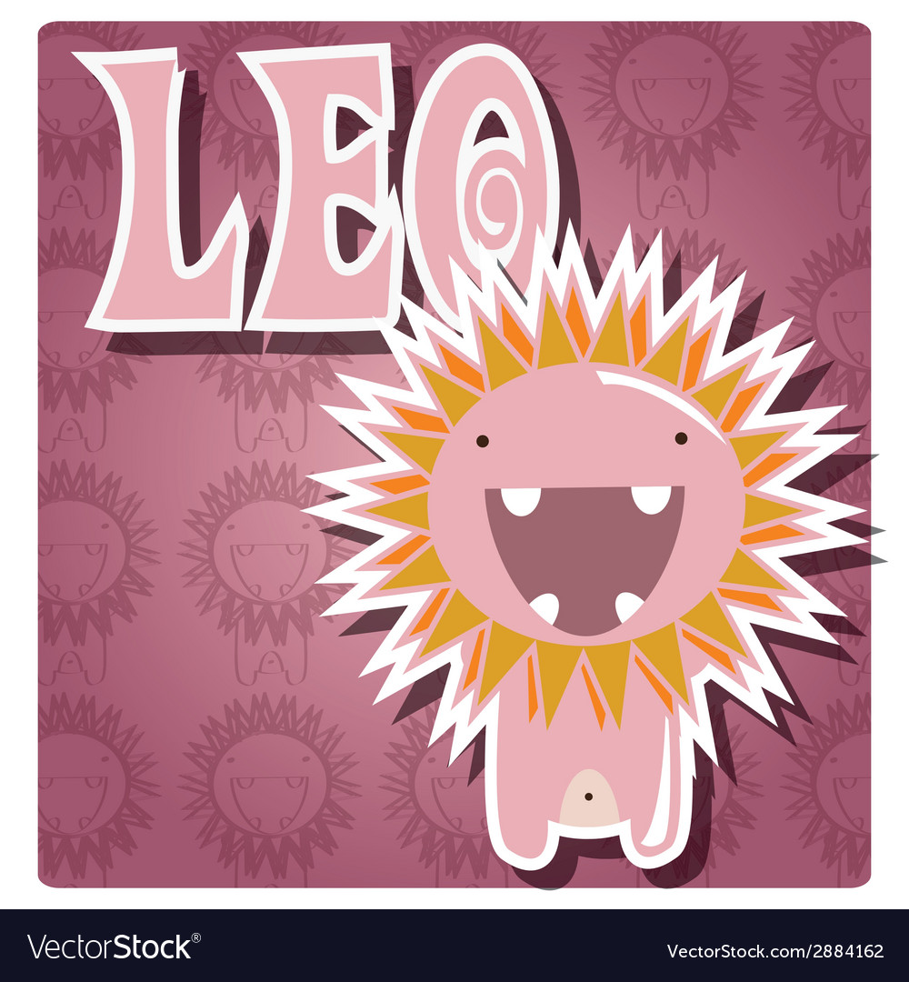 Zodiac sign leo with cute colorful monster vector | Price: 1 Credit (USD $1)