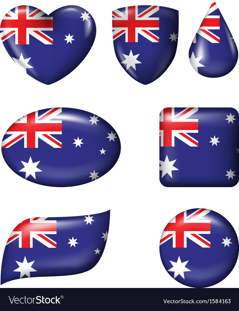 Australian flag in various shape glossy button vector | Price: 1 Credit (USD $1)
