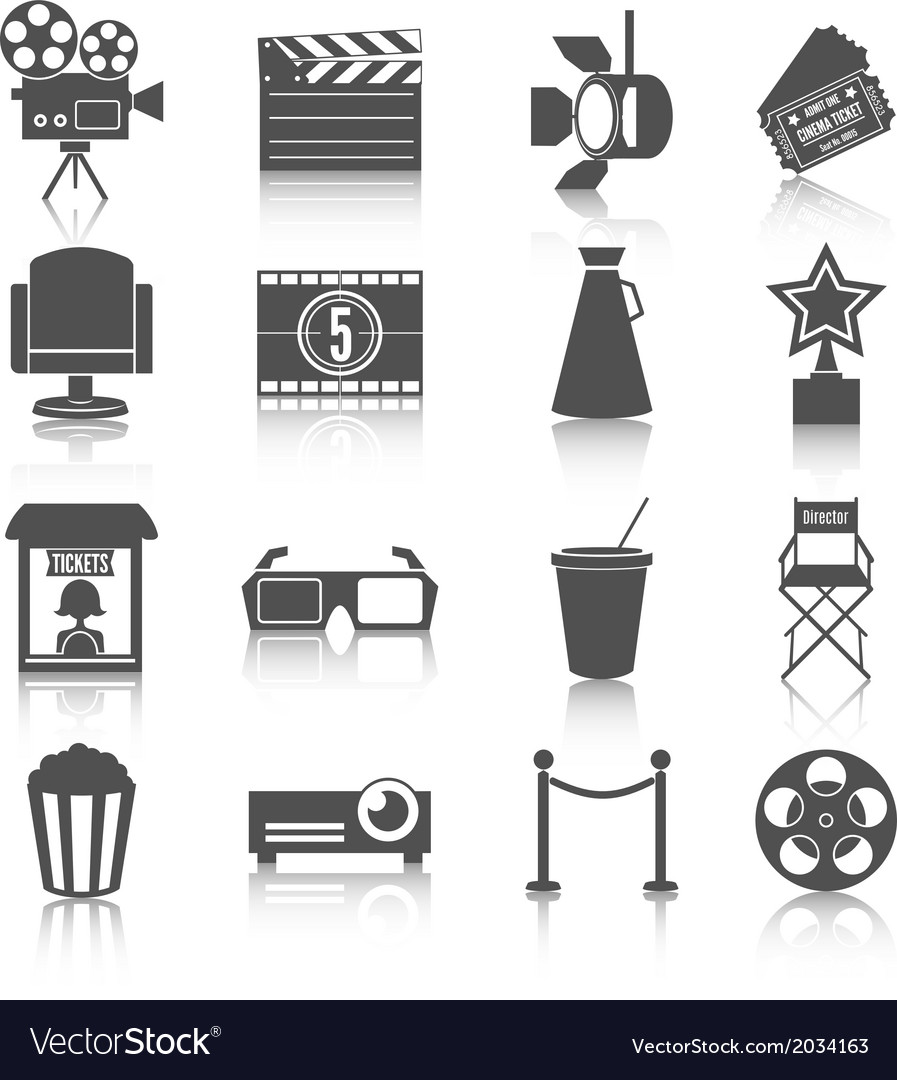 Cinema entertainment icons set vector | Price: 1 Credit (USD $1)