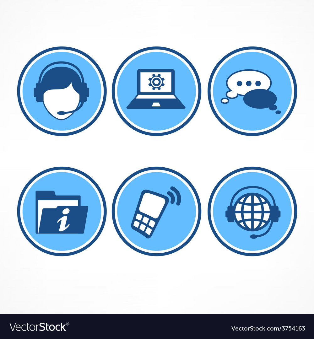 Customer support icons in blue vector | Price: 1 Credit (USD $1)