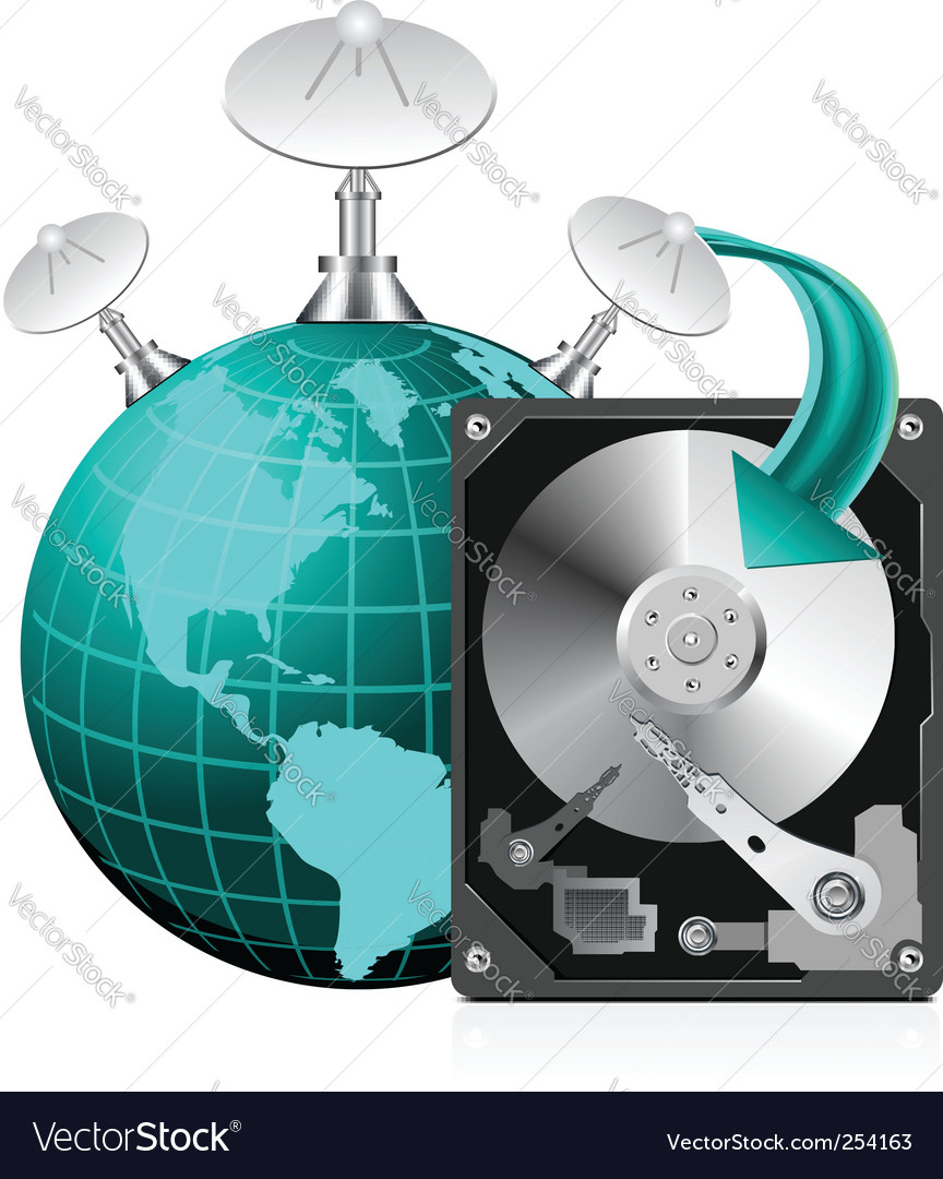 Hard disk drive  world vector | Price: 1 Credit (USD $1)