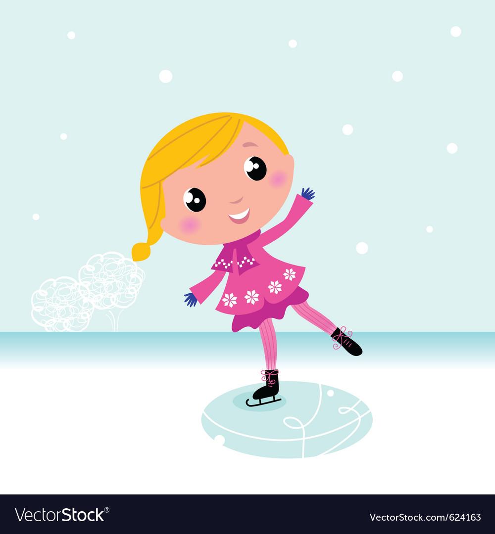 Ice skating girl vector   Price: 1 Credit (USD $1)