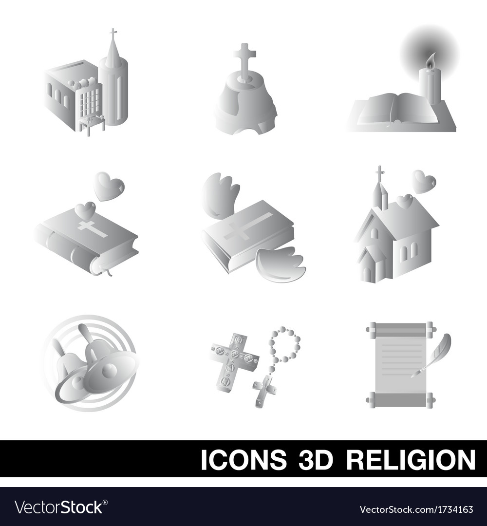 Icon set religion 3d vector | Price: 1 Credit (USD $1)