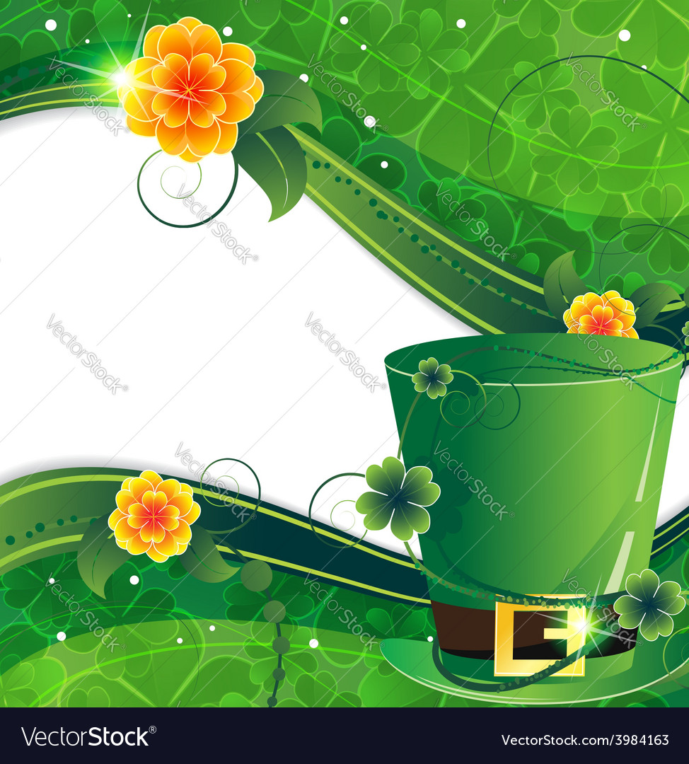 Leprechaun hat with flowers vector | Price: 1 Credit (USD $1)