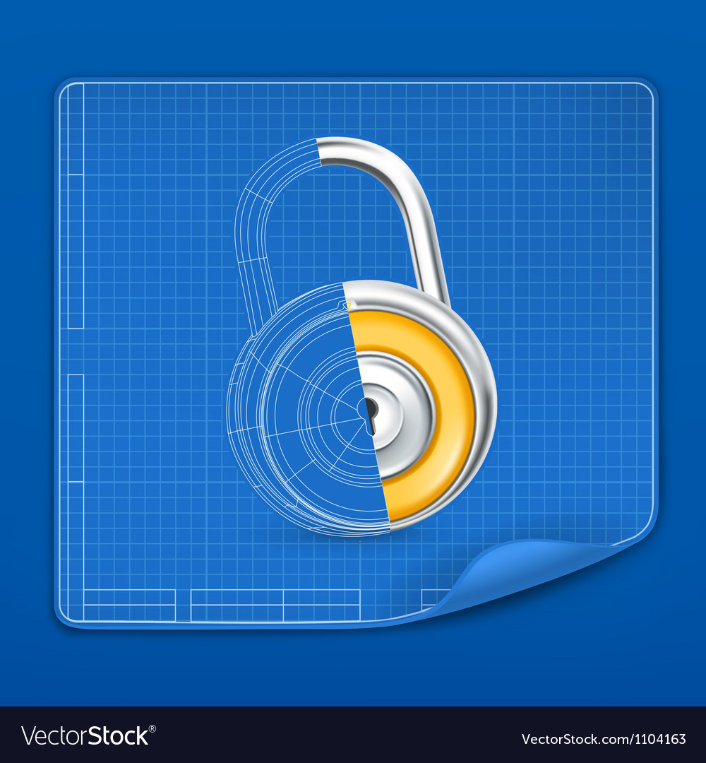 Lock drawing blueprint vector | Price: 1 Credit (USD $1)