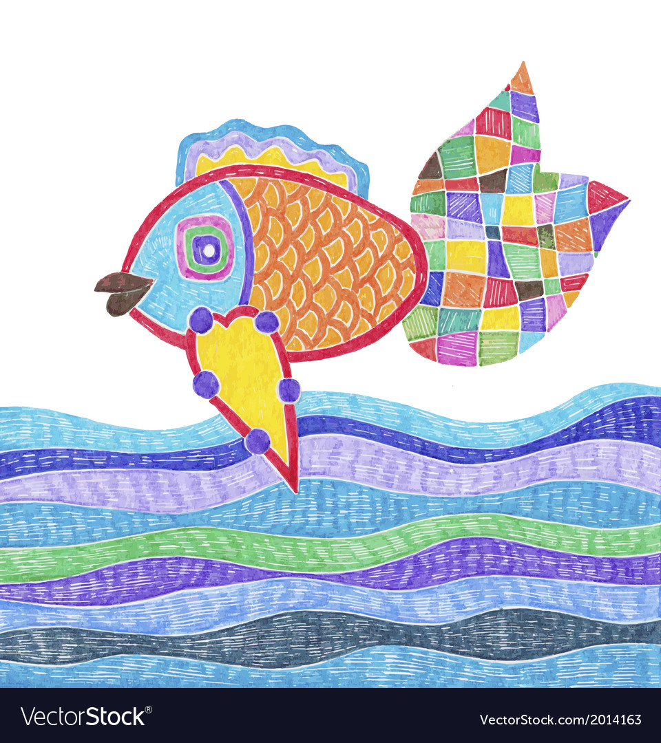 Marker hand drawing of fish and water vector | Price: 1 Credit (USD $1)