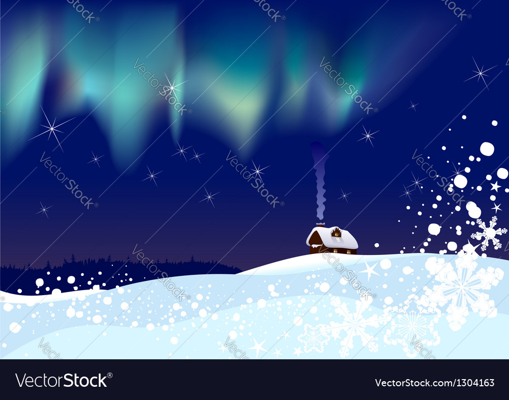 Northern lights at christmas vector | Price: 1 Credit (USD $1)