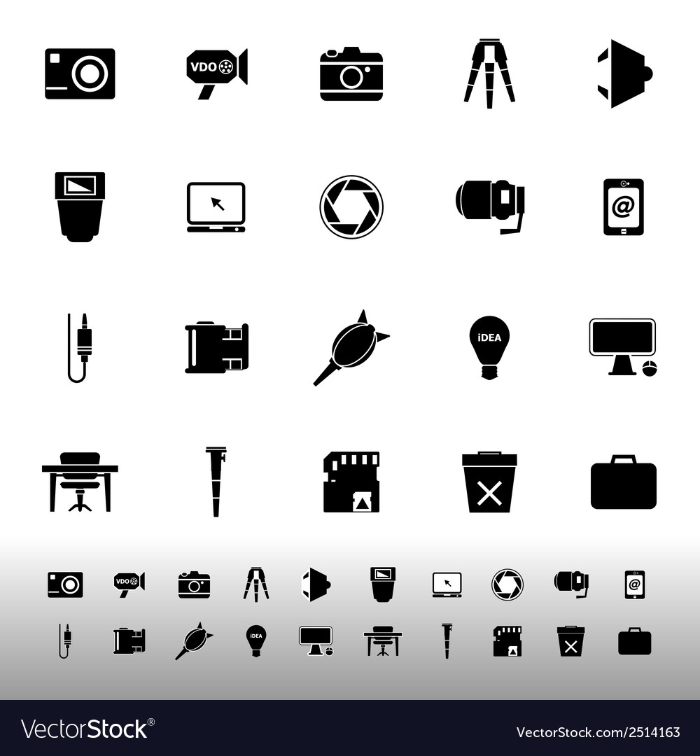 Photography related item iconscon white background vector | Price: 1 Credit (USD $1)