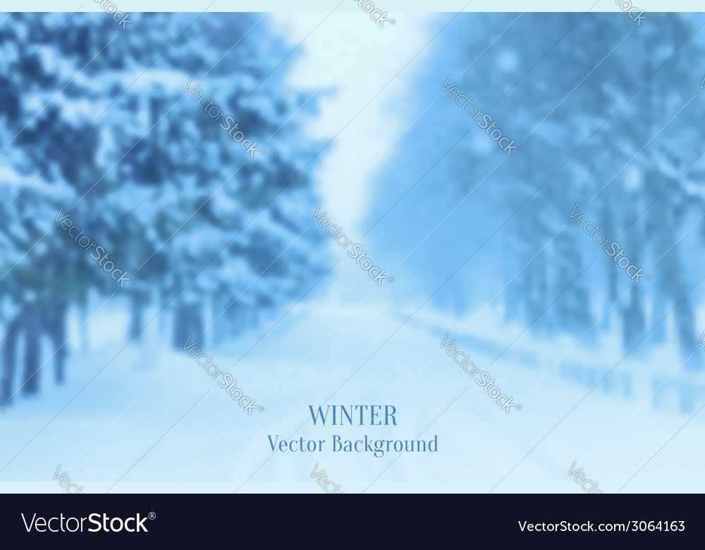 Realistic blurred winter landscape background vector | Price: 1 Credit (USD $1)