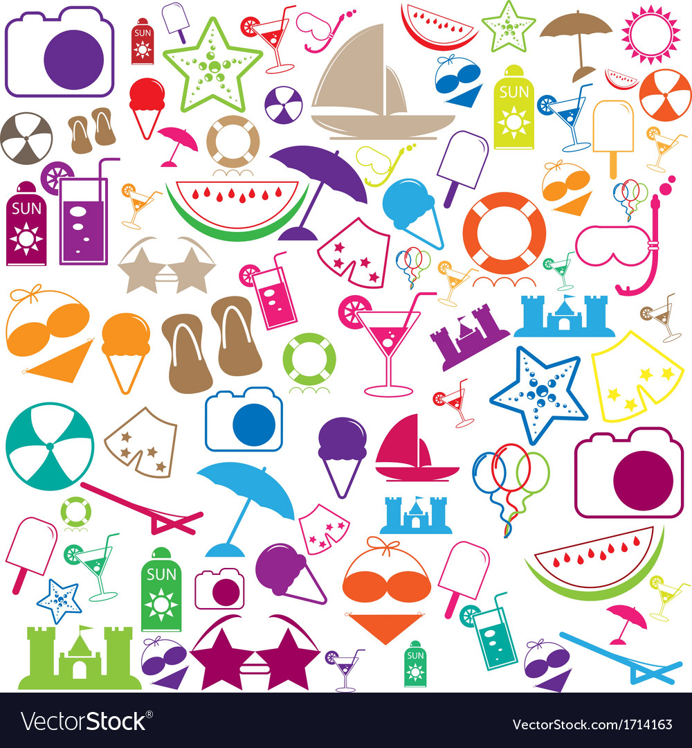 Summer icons with white background - silhouette vector   Price: 1 Credit (USD $1)