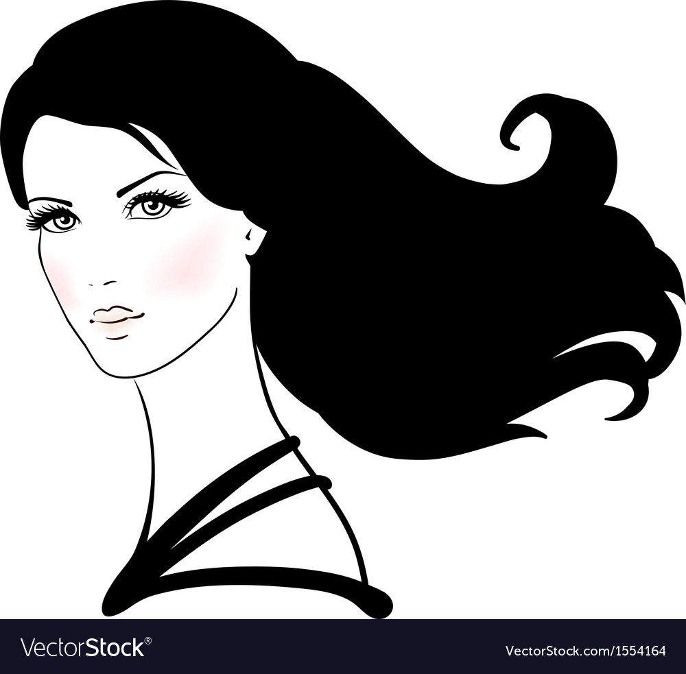 Beautiful young woman with long black hair vector   Price: 1 Credit (USD $1)