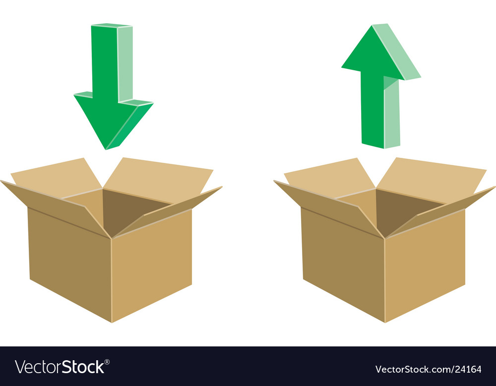 Cardboard boxes with arrows vector