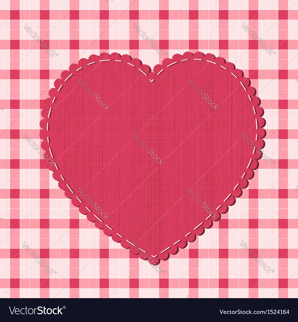 Checkered background with textile heart label vector | Price: 1 Credit (USD $1)